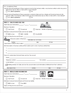 Form S-1 Fillable App. and Instructions for Business Tax Account