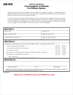 Form AR-MS Tax Exemption Certificate for Military Spouse