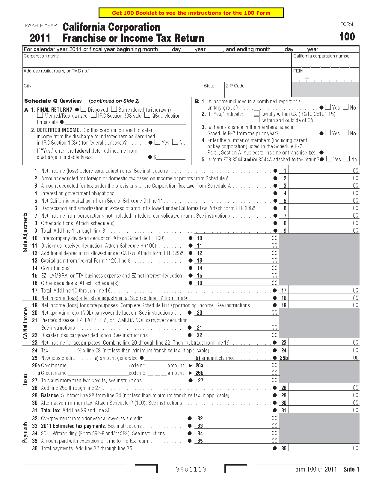 100 Form California Corporation Franchise or Income Tax Return
