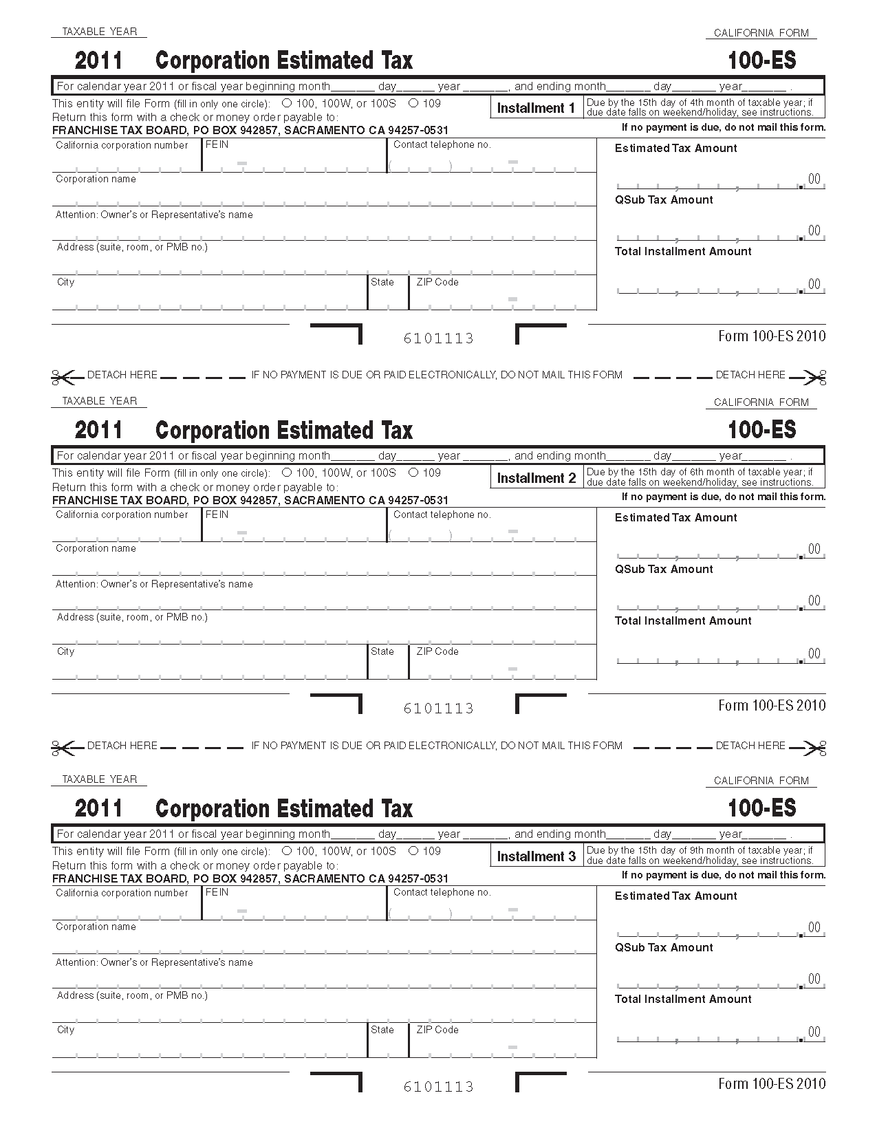 100ES Form Corporation Estimated Tax
