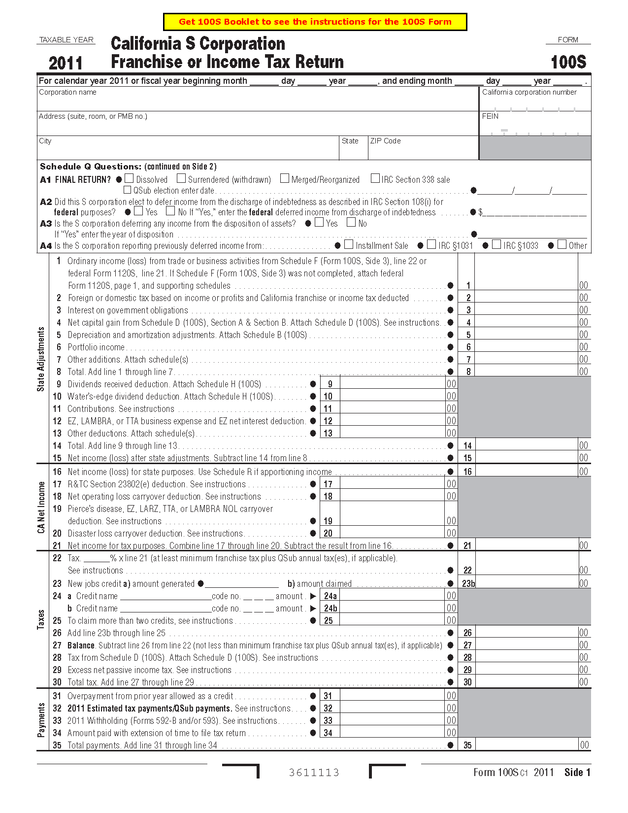 100S Form California S Corporation Franchise or Income Tax Return