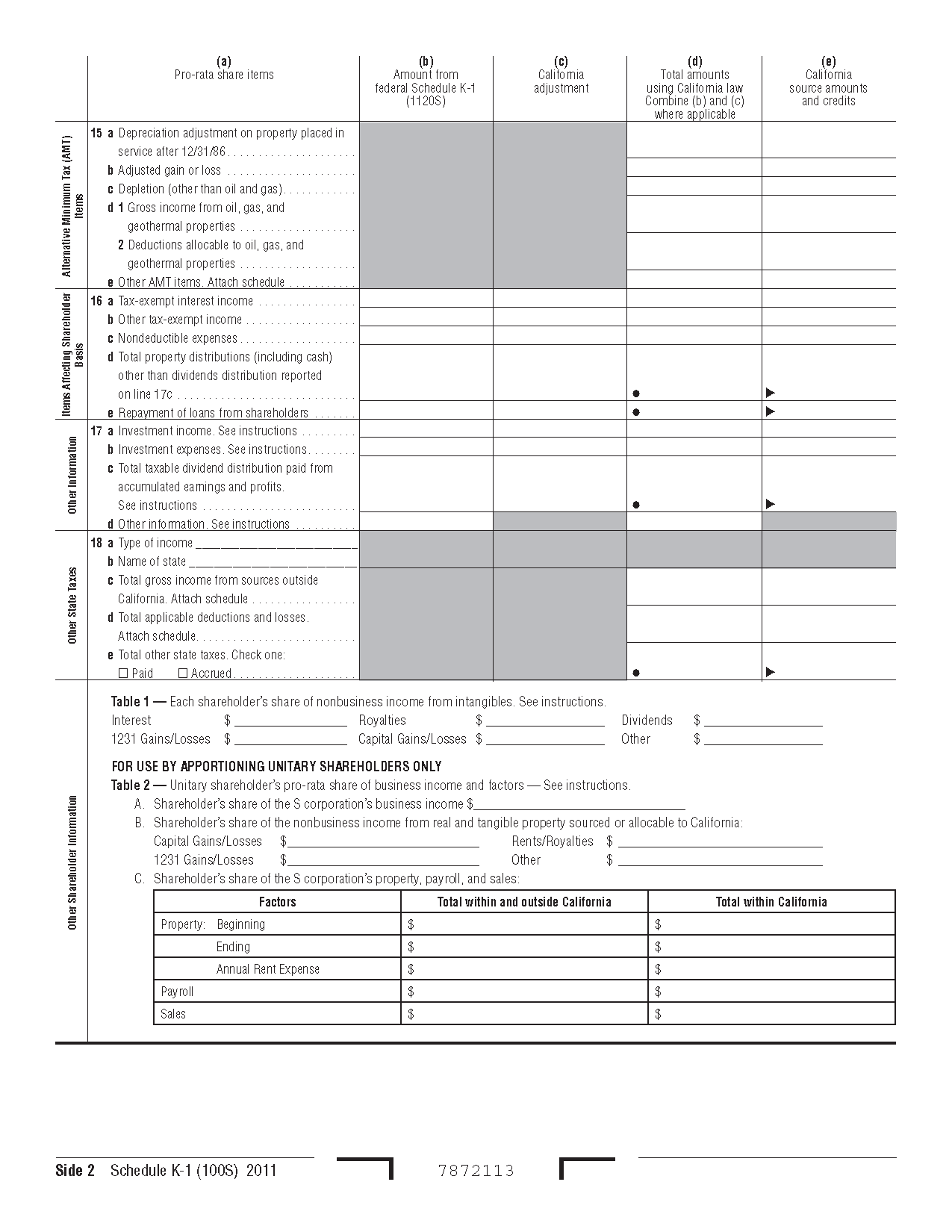 Form 100S Schedule K-1 Shareholder's Share of Income, Deductions ...