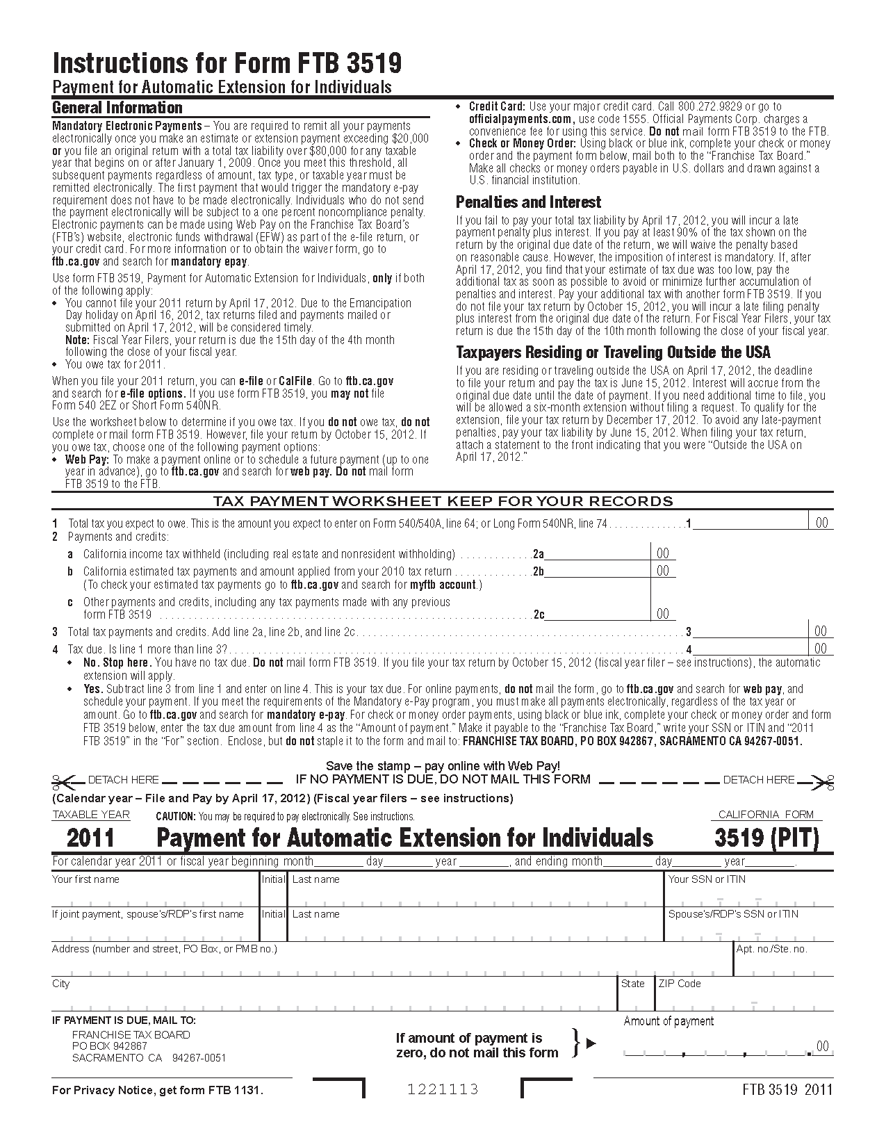 3519 Form Payment for Automatic Extension for Individuals