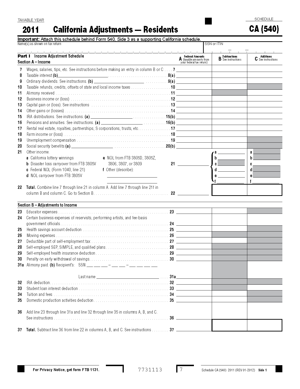 Form 540 Schedule CA California Adjustments - Residents