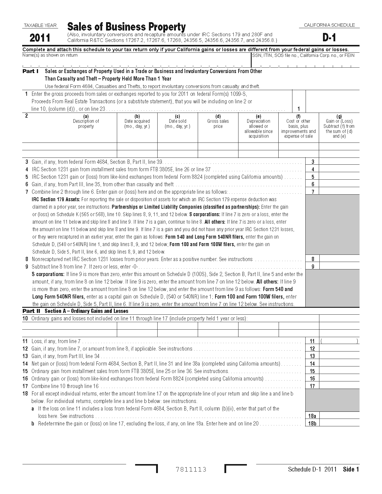 Section 1231 Property: Form 540 Schedule D-1 Sales Of Business Property