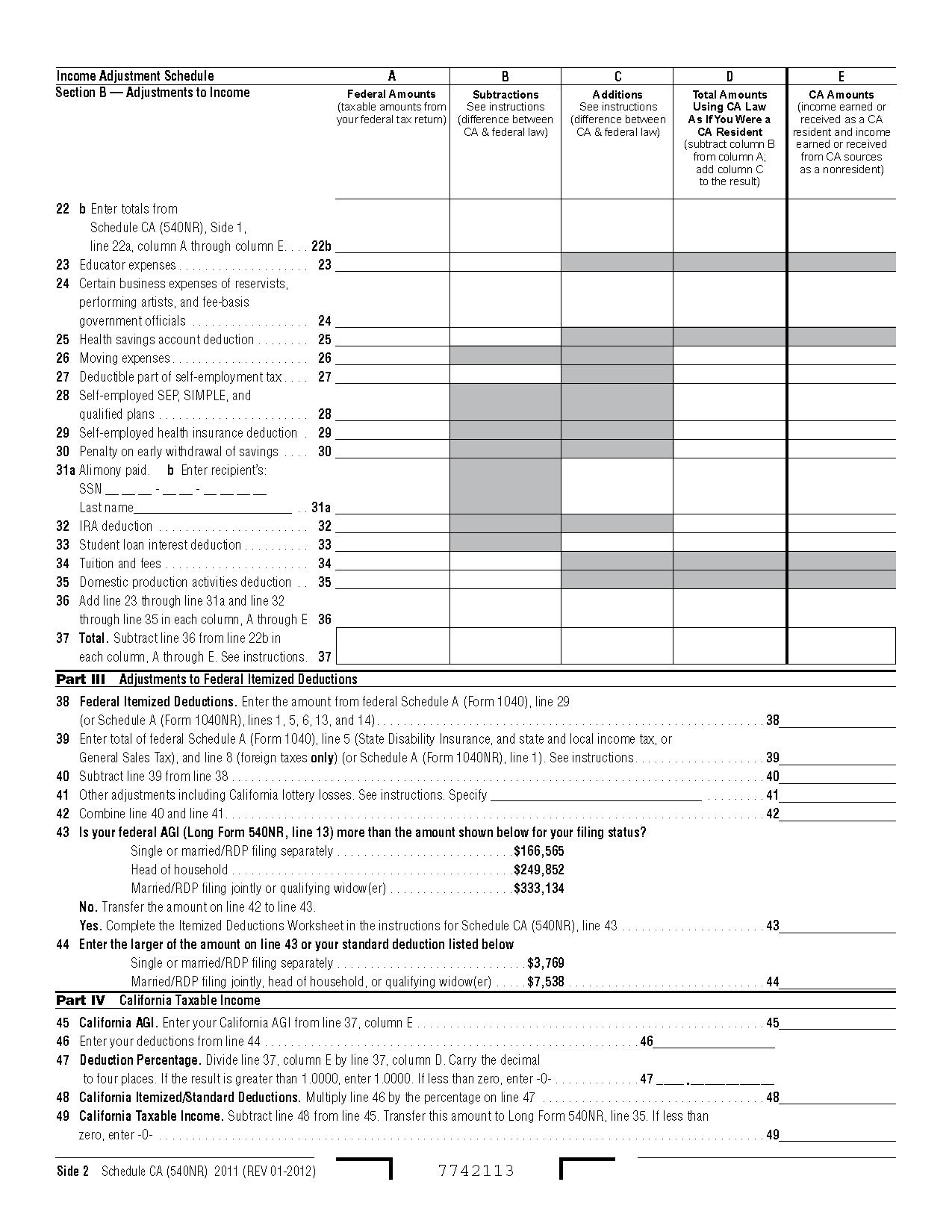 Form 540NR Schedule CA California Adjustments - Nonresidents and ...