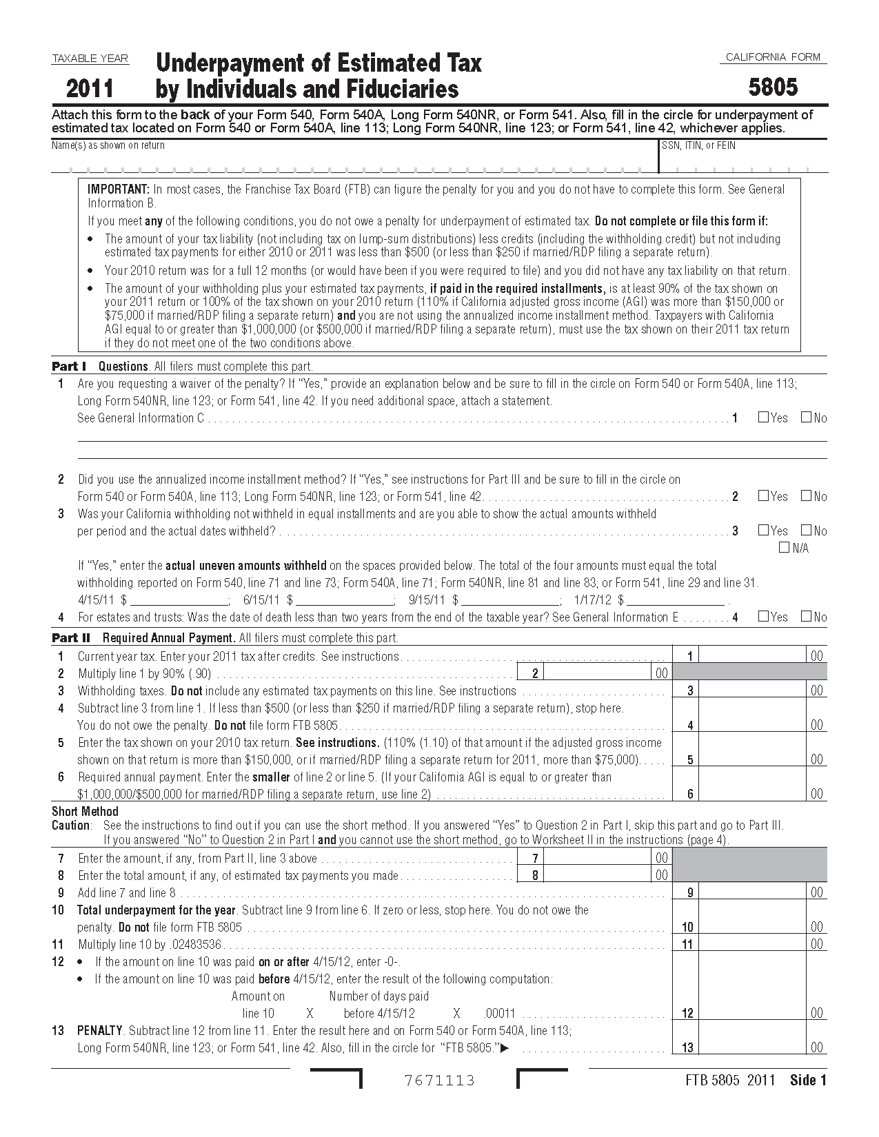 5805 Form Underpayment Of Estimated Tax By Individuals And Fiduciaries