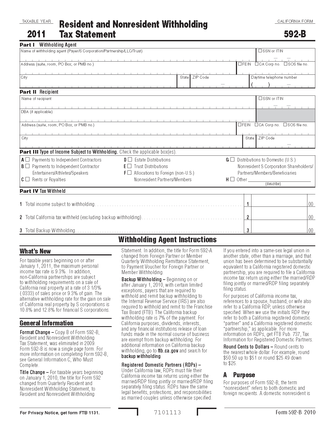592B Form Resident and Nonresident Withholding Tax Statement
