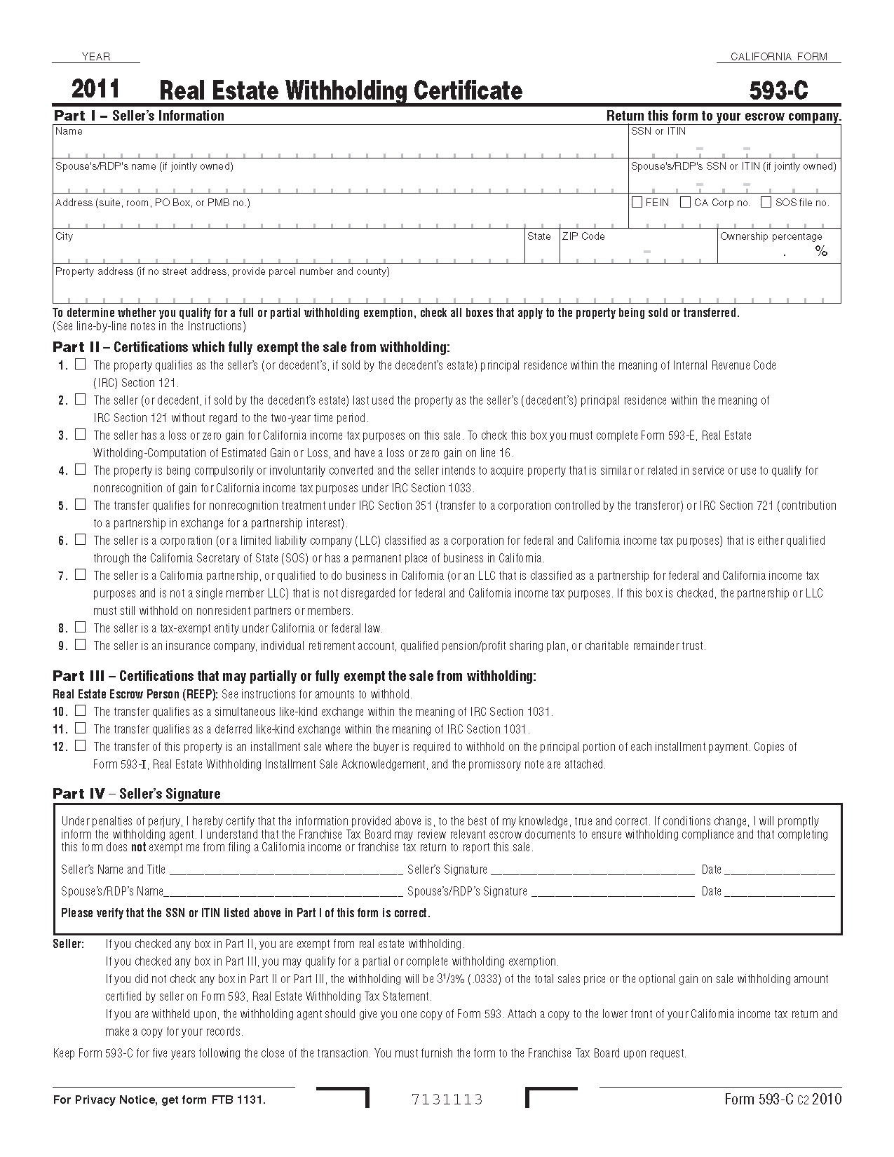 593C Form Real Estate Withholding Certificate