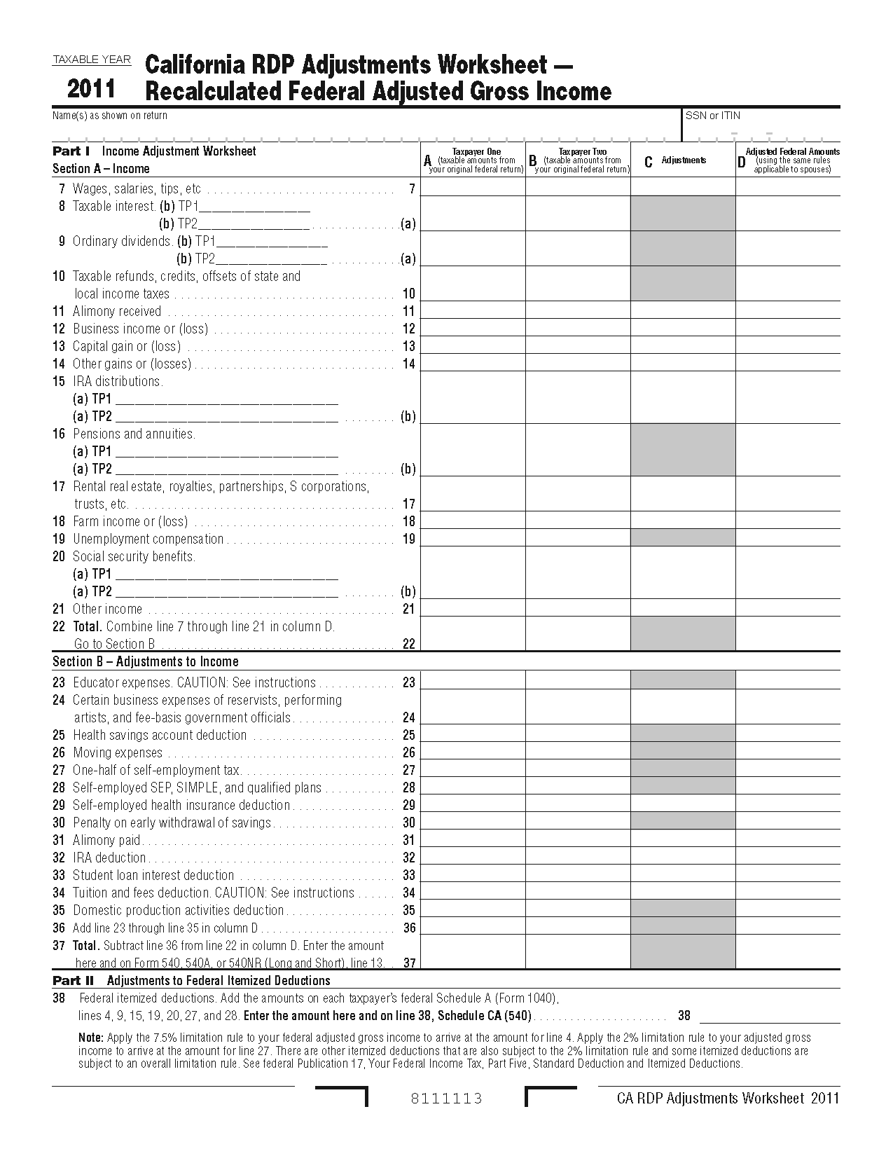 Worksheets Itemized Deductions Worksheet 737 worksheet form california registered domestic partners adjustments recalculated federal adjusted gross income