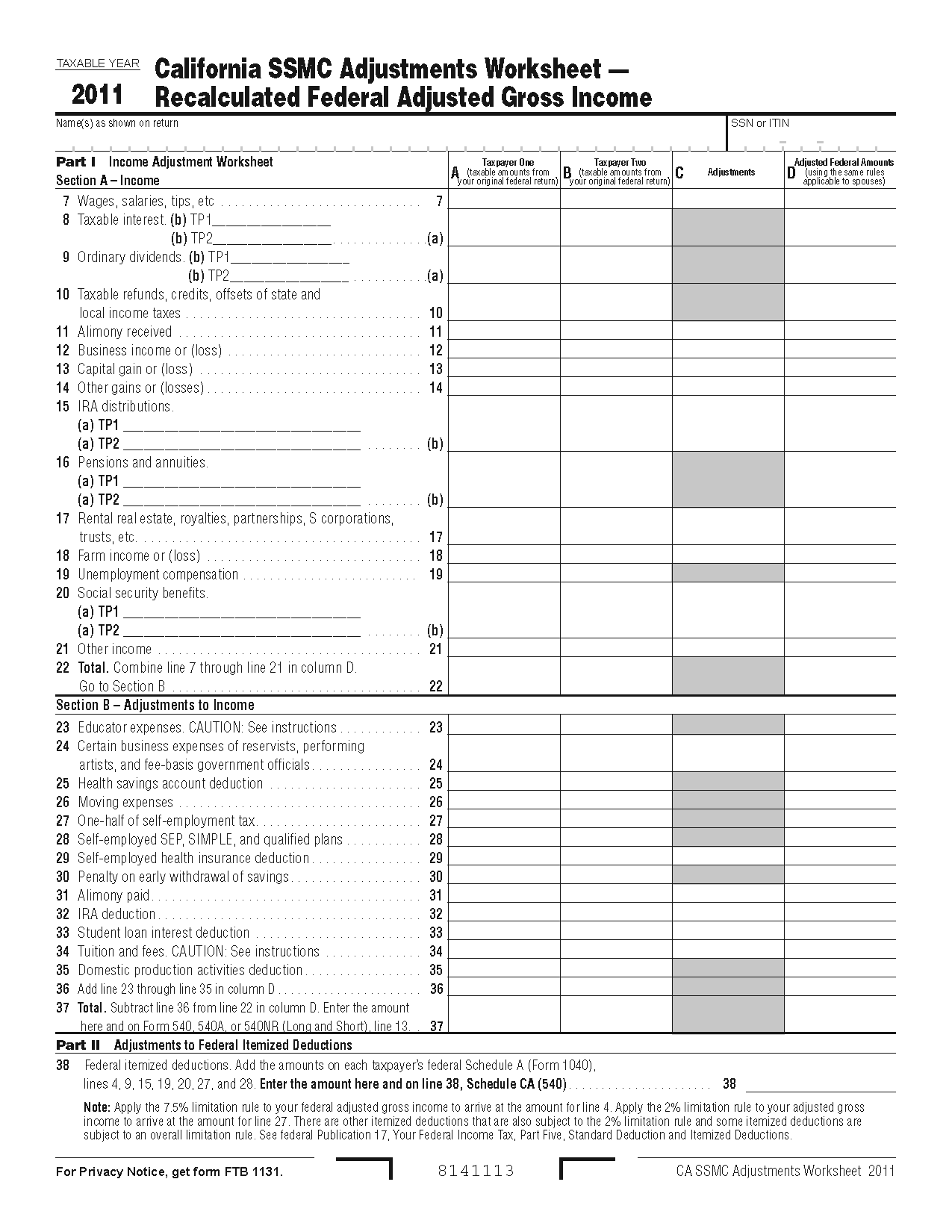 Worksheets Schedule A Itemized Deductions Worksheet 776 worksheet form california same sex married couples adjustments view all 2011 ca tax forms