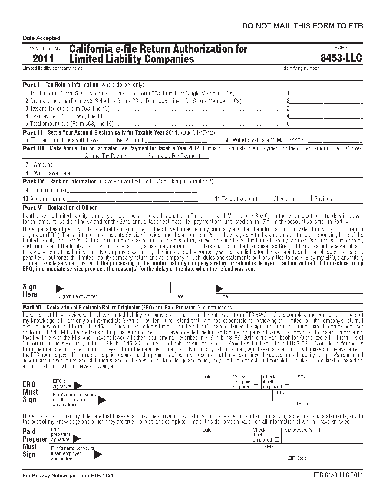 8453LLC Form California e-file Return Authorization for Limited ...