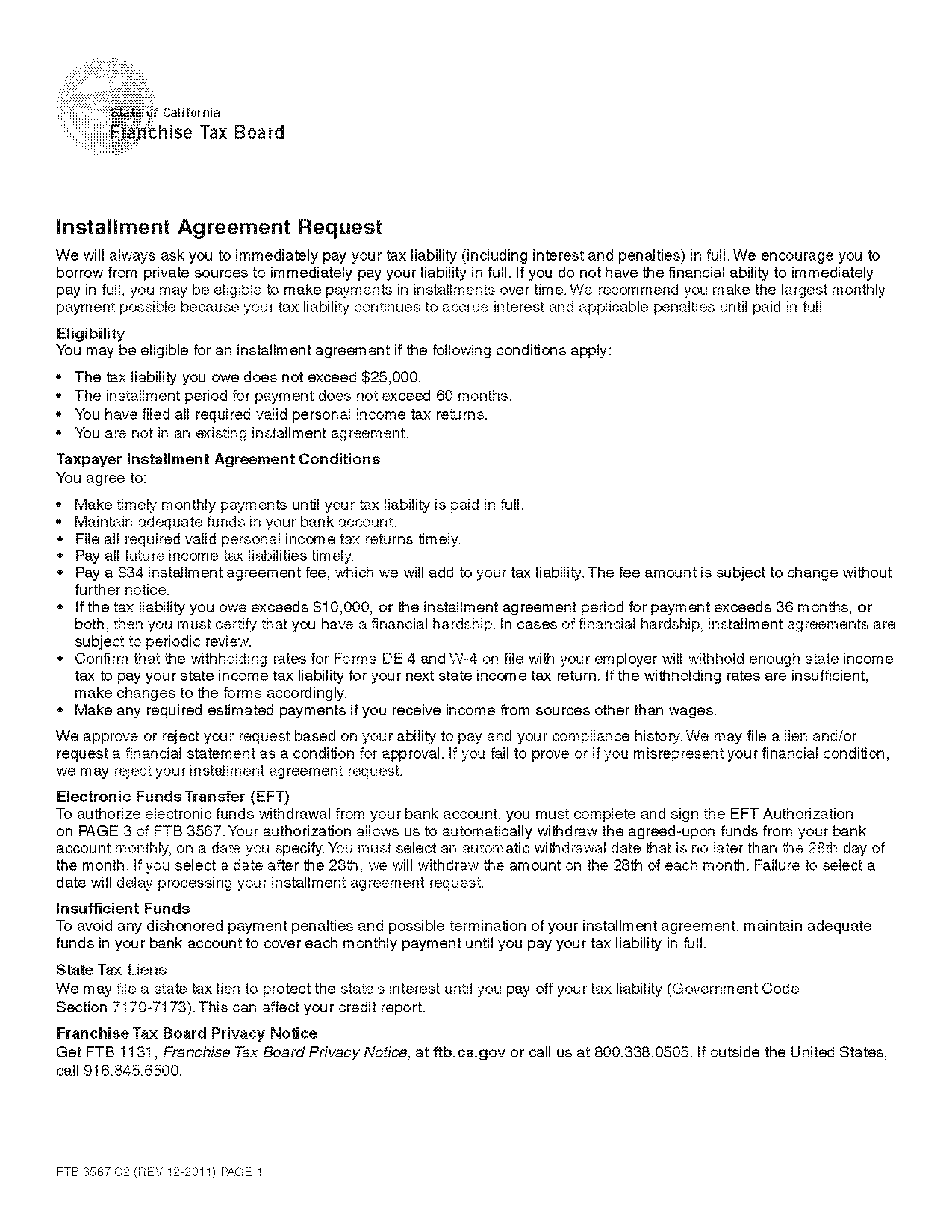 Form 3567 Installment Agreement Request