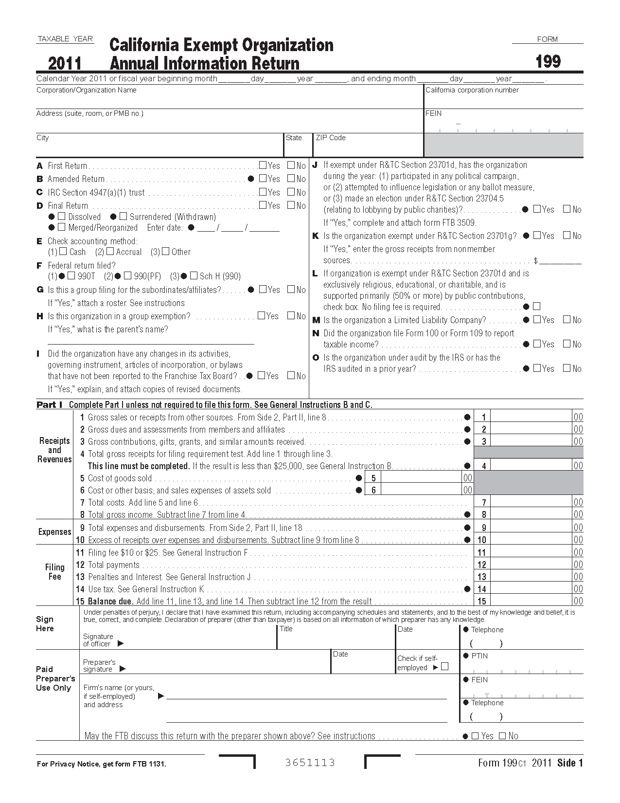 199 Form Exempt Organization Annual Information Return