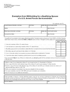 Form DR 1059 Exemption from Withholding for a Qualifying Spouse of ...