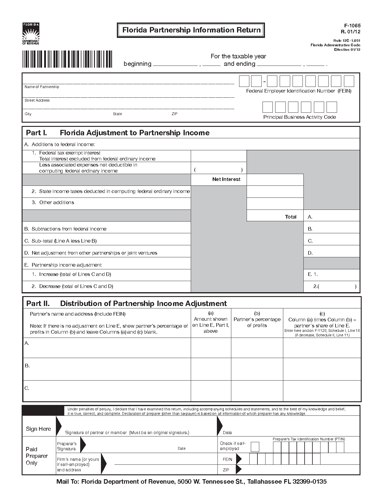 Form f 1065 florida partnership information return with form f 1065 florida partnership information return with instructions r0112 xflitez Choice Image