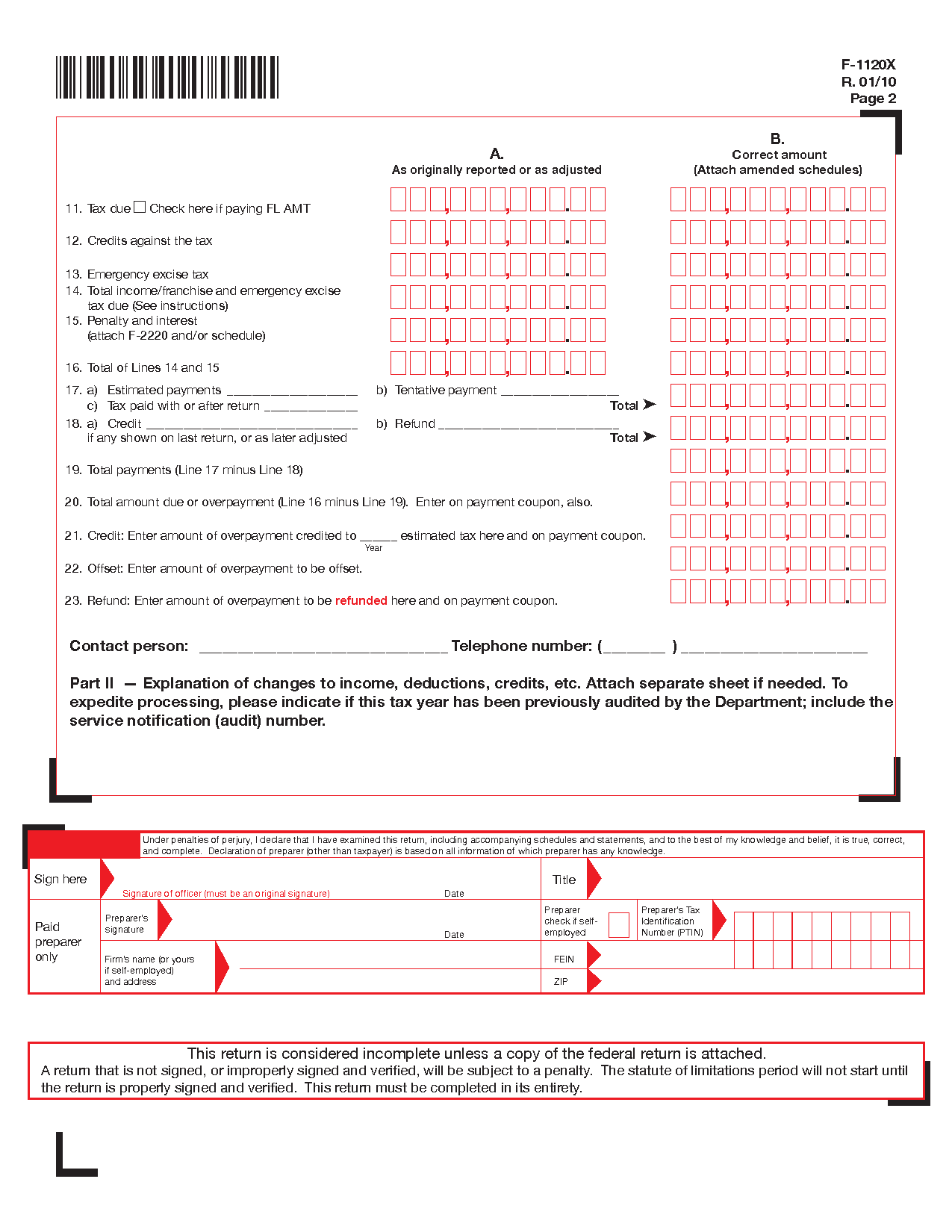 Form F 1120x Amended Florida Corporate Incomefranchise And