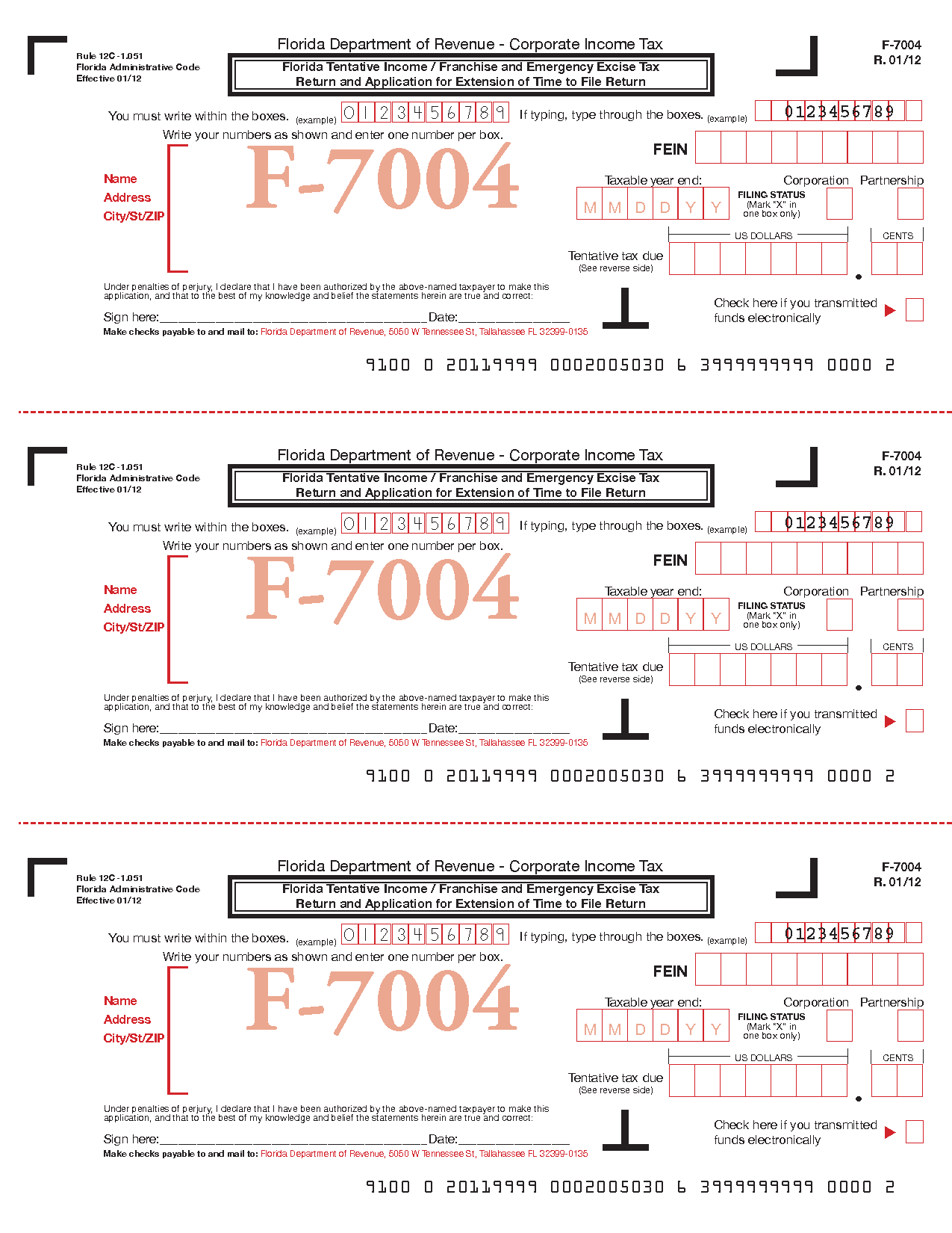 Form f 7004 tentative incomefranchise andor emergency excise tax view all 2011 fl florida tax forms falaconquin