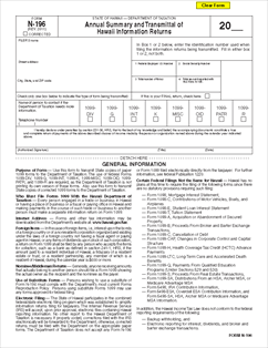 Form N 196 Annual Summary And Transmittal Of Hawaii Annual