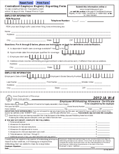 Form IA W-4 Employee's Withholding Certificate and Centralized ...