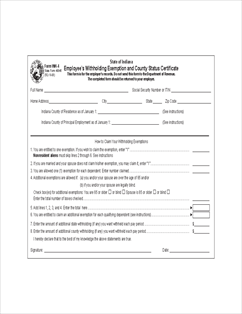 Form WH-4 Employee's Withholding Exemption and County Status ...
