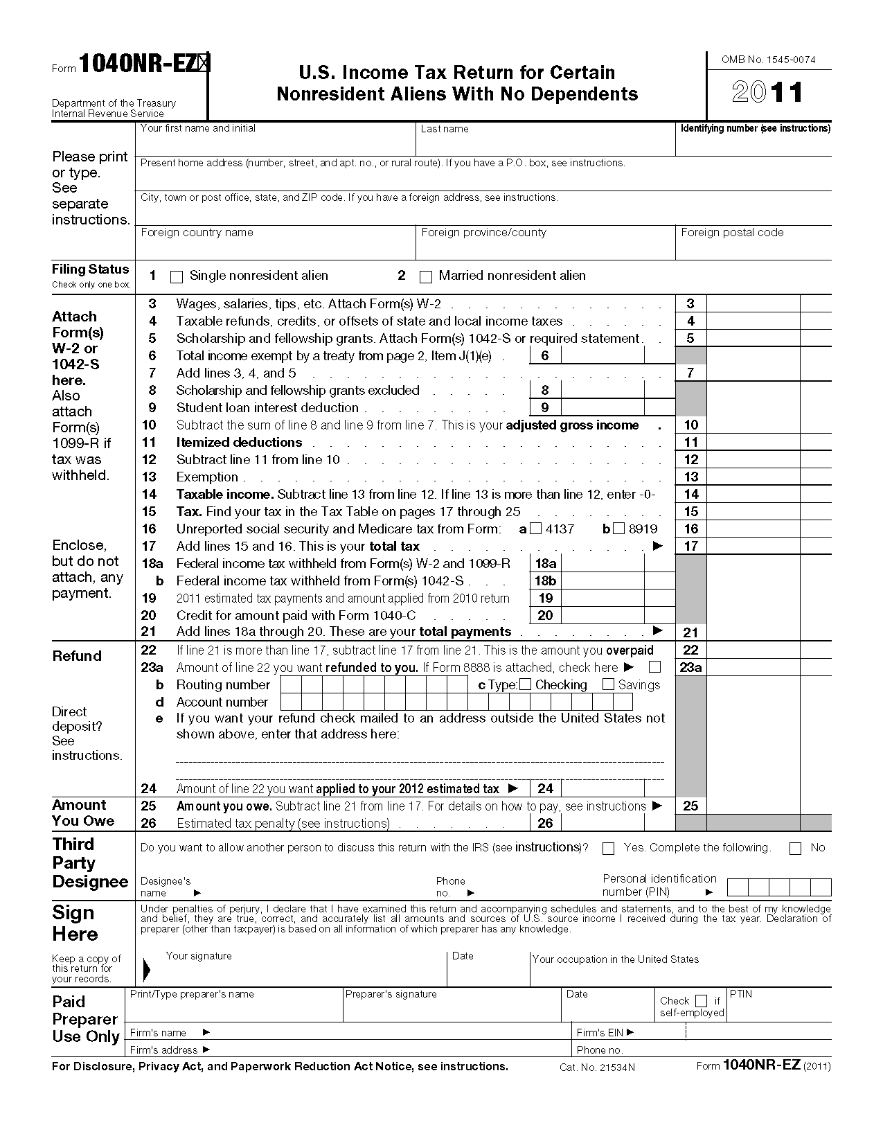 Form 1040 nr ez us income tax return for certain nonresident view all 2011 irs tax forms falaconquin