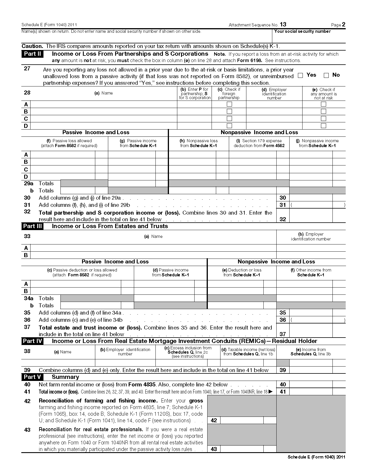 Form 1040 (Schedule E) Supplemental Income and Loss