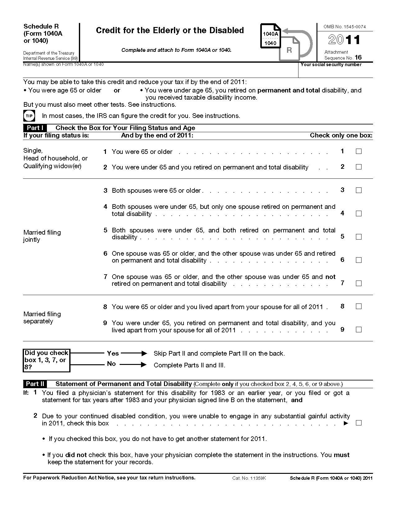 Form 1040 schedule r credit for the elderly or the disabled for 1040 form 2011 tax table