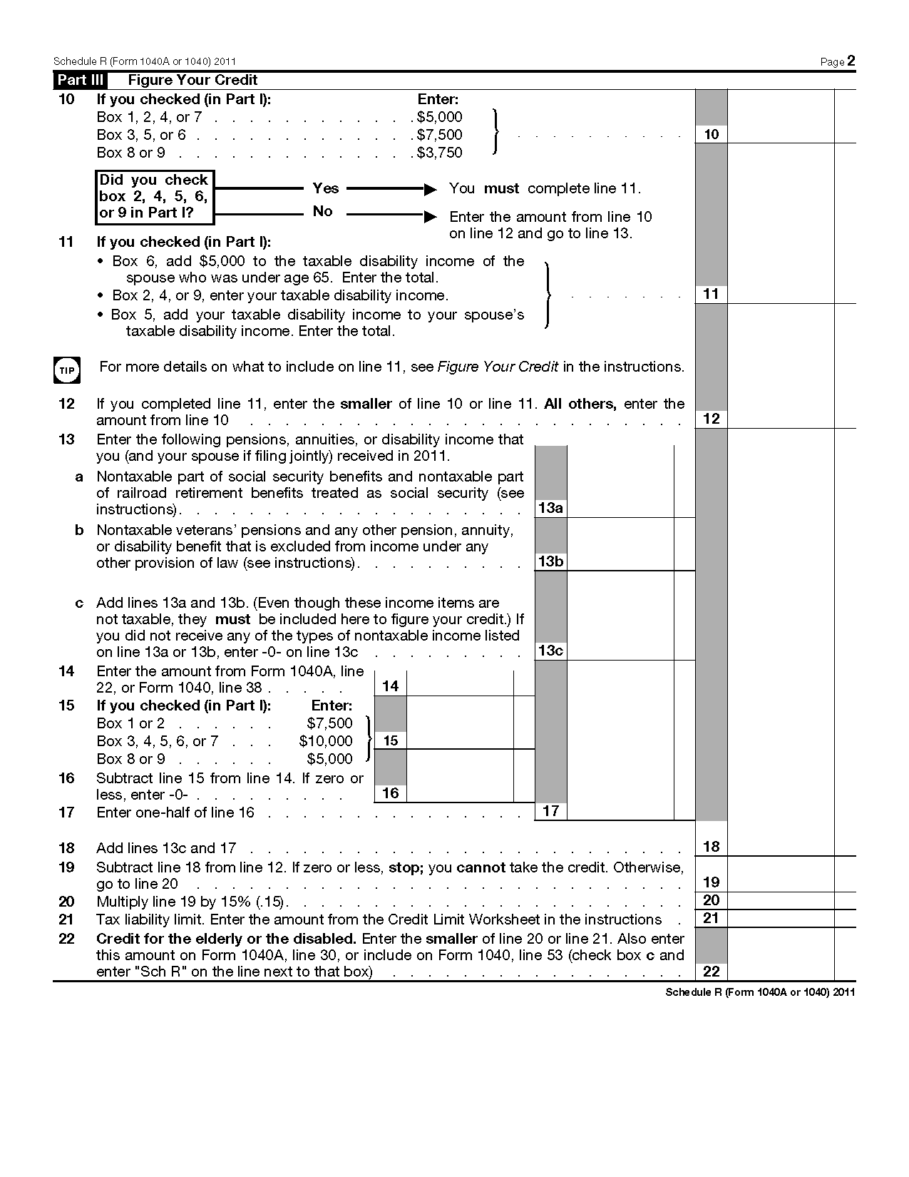 Form 1040 schedule r credit for the elderly or the disabled for 1040a instructions 2011 tax table