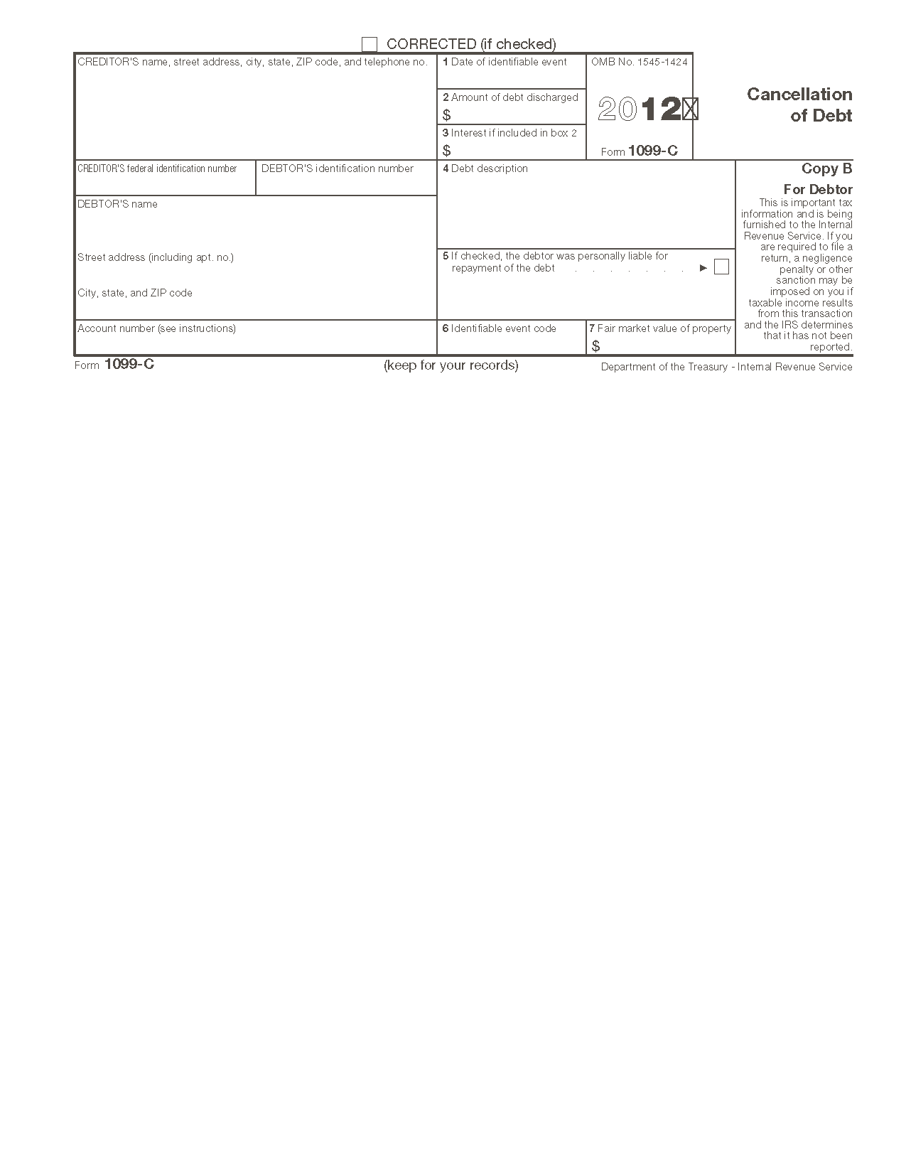 Form 1099 c cancellation of debt info copy only view all 2011 irs tax forms falaconquin