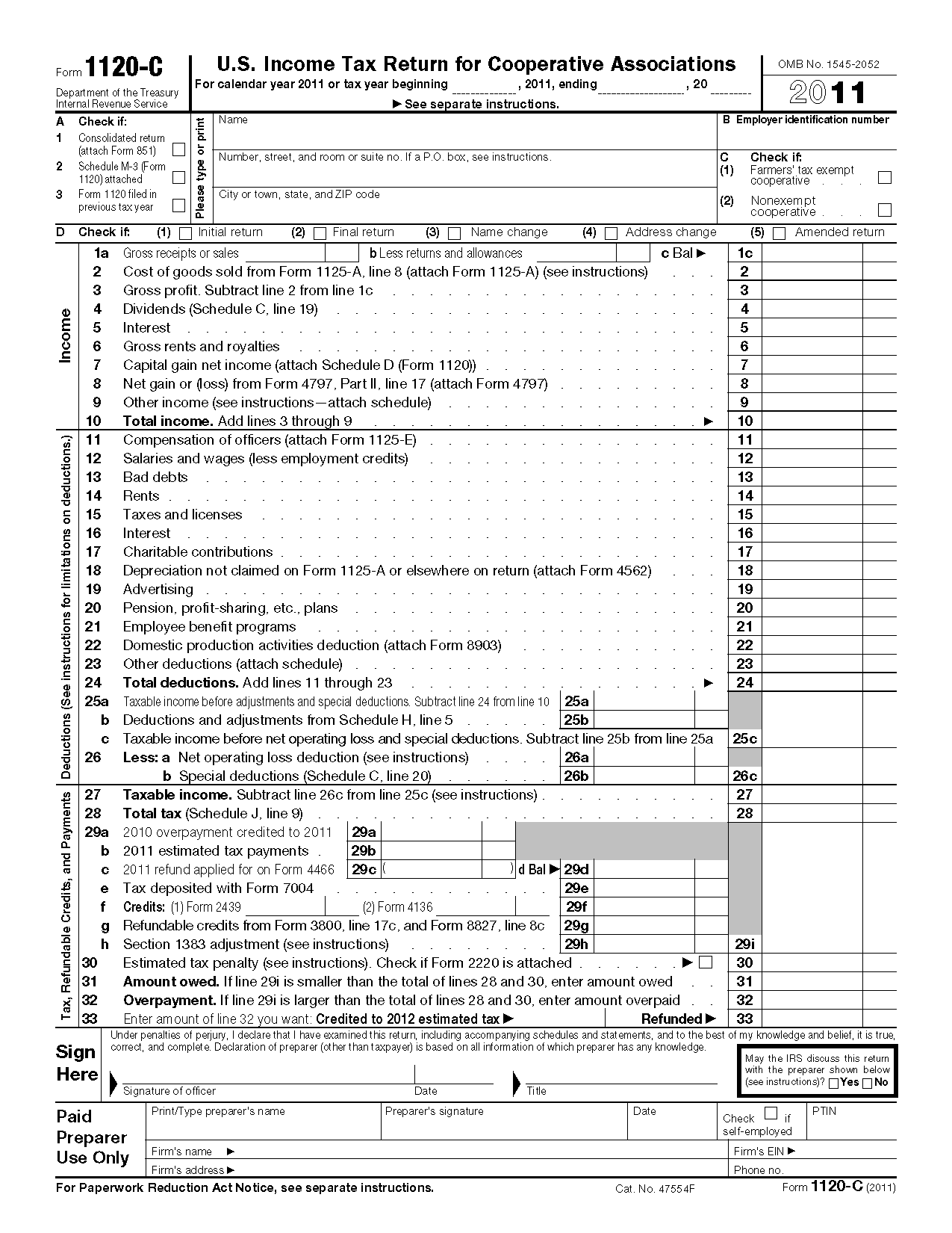 Form 1120 c us income tax return for cooperative associations falaconquin