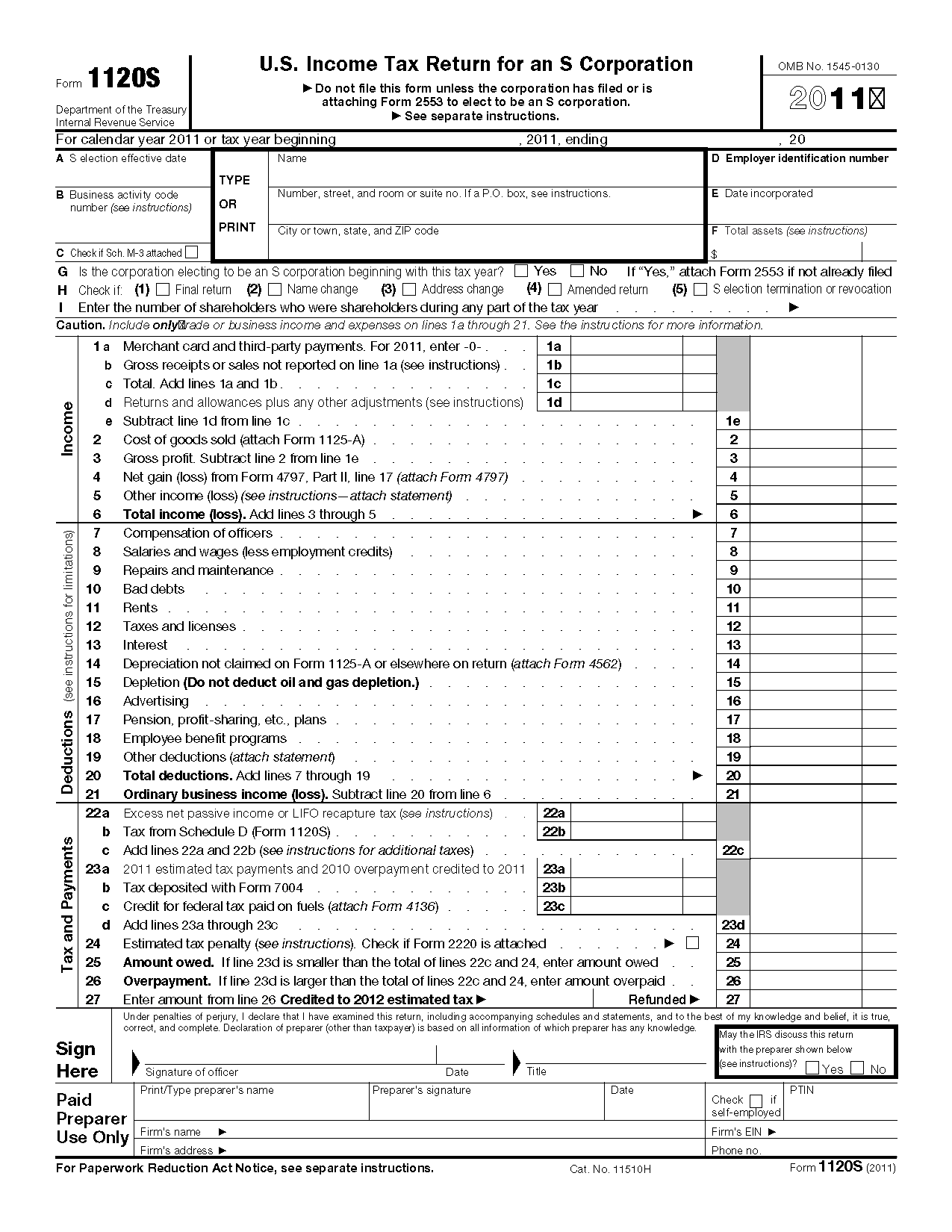 Form 1120 s us income tax return for an s corporation view all 2011 irs tax forms falaconquin