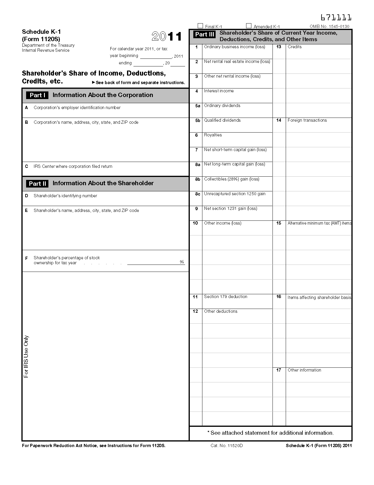 worksheet Shareholder Basis Worksheet form 1120 s schedule k 1 shareholders share of income view all 2011 irs tax forms