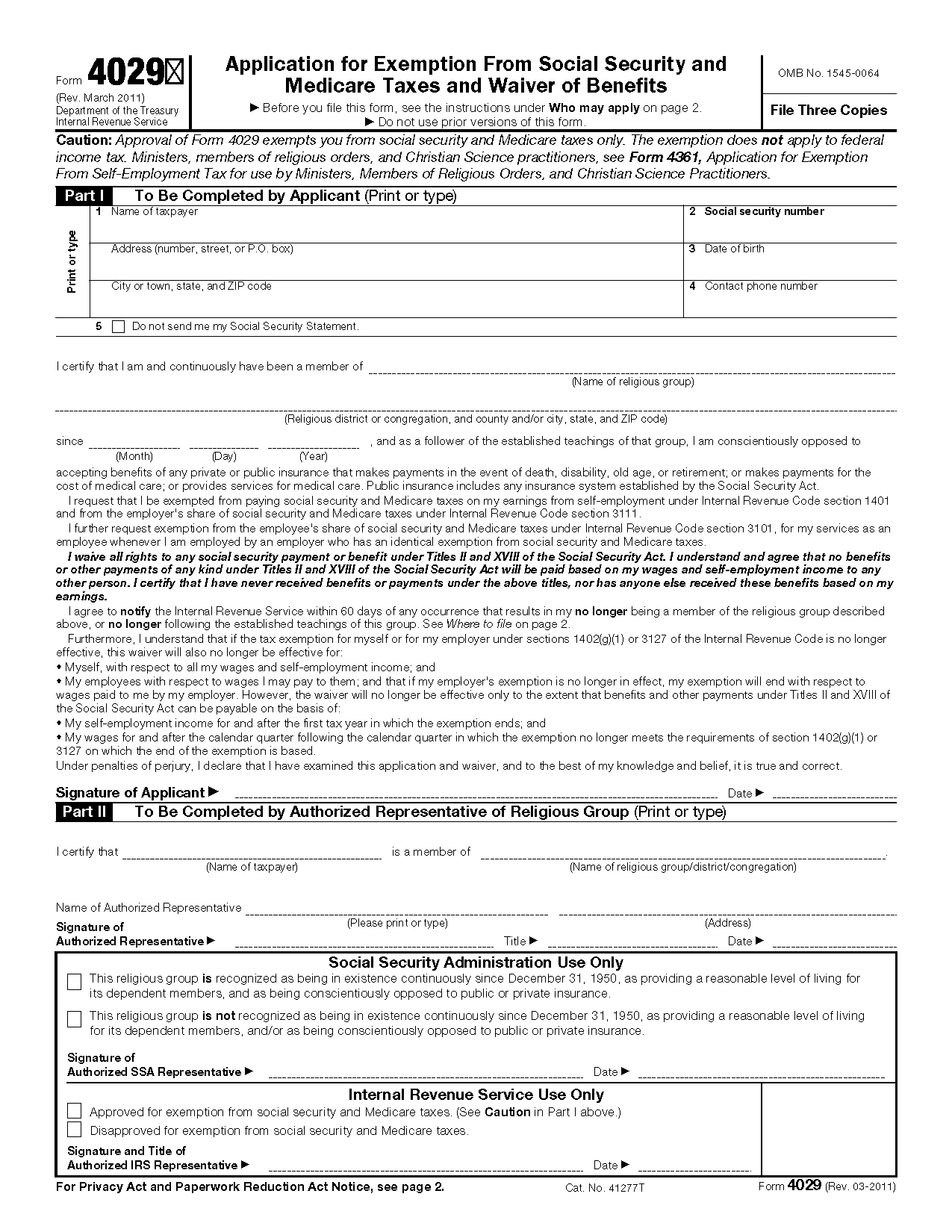 Form 4029 Application for Exemption From Social Security and ...