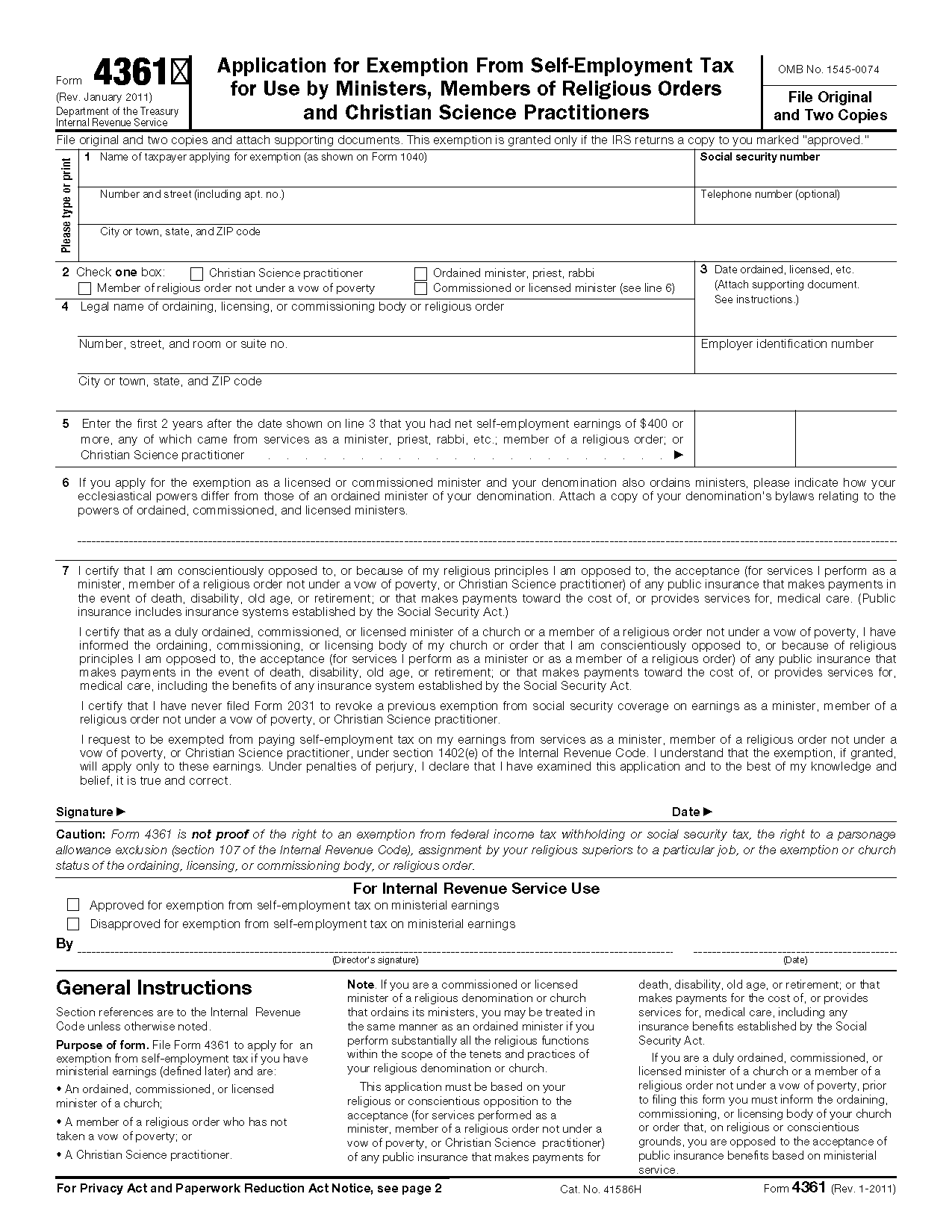 Form 4361 application for exemption from self employment tax for view all 2011 irs tax forms falaconquin