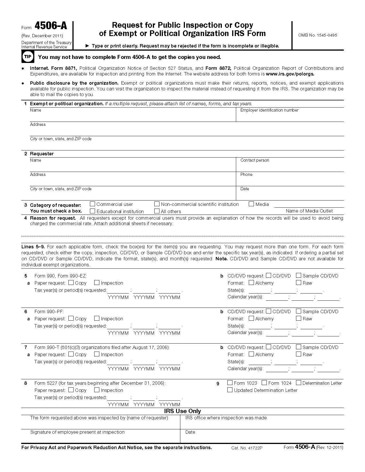 Form 4506 a request for public inspection or copy of exempt or view all 2011 irs tax forms falaconquin
