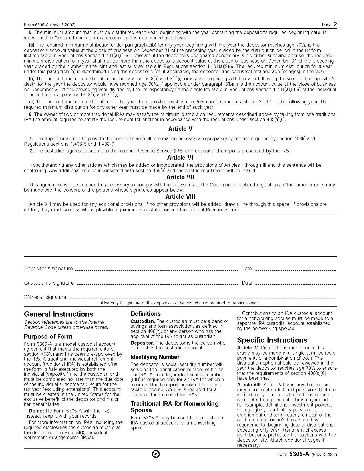 Form 5305-A Traditional Individual Retirement Custodial ...