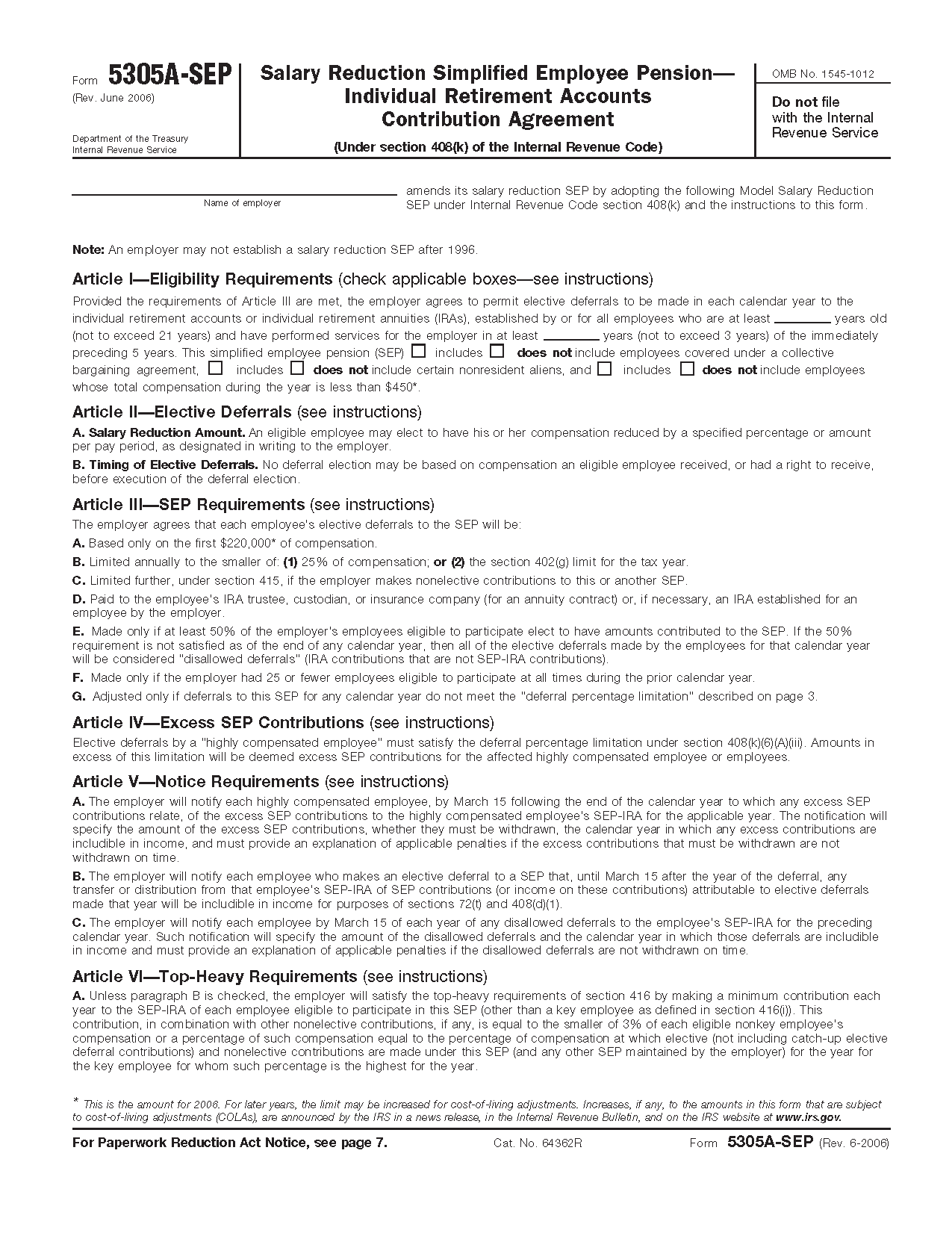 Form 5305-A-SEP Salary Reduction and Other Elective ...
