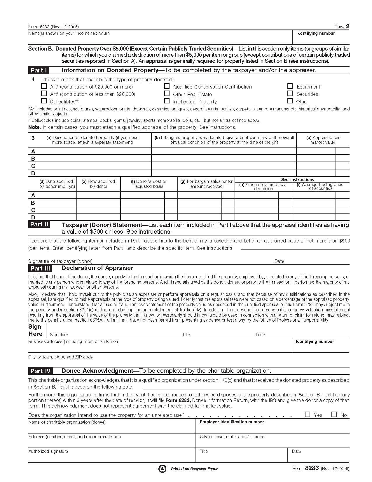 Form 8283 Noncash Charitable Contributions