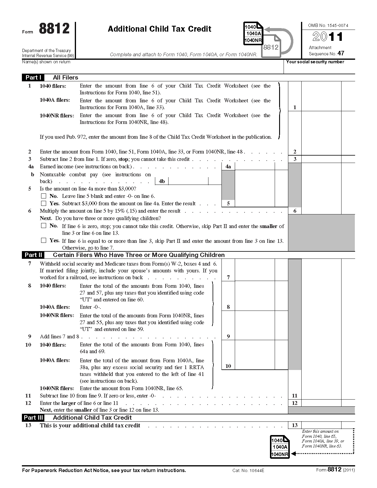 Form 8812 Additional Child Tax Credit – Irs Social Security Worksheet