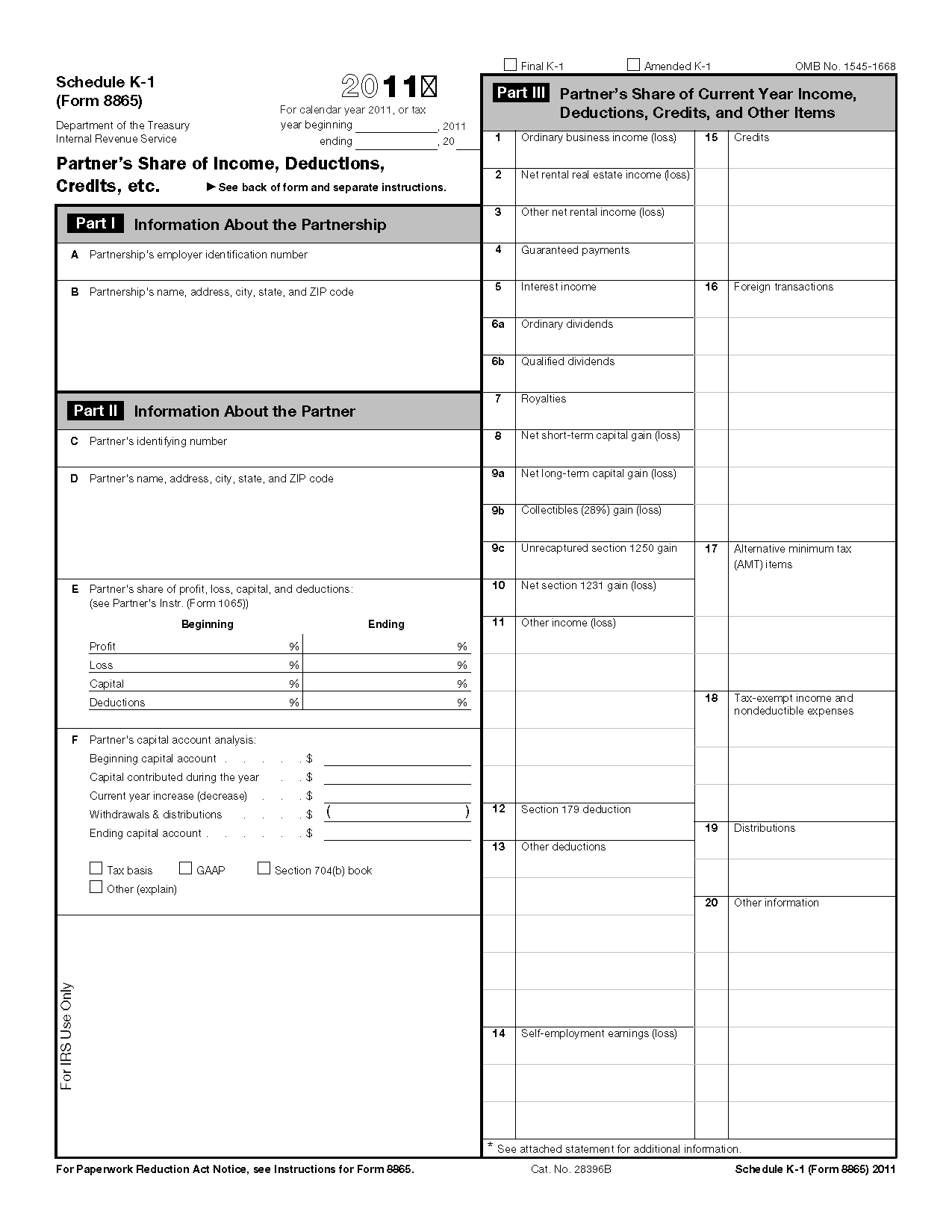 Form 8865 (Schedule K-1) Partner's Share of Income, Deductions ...