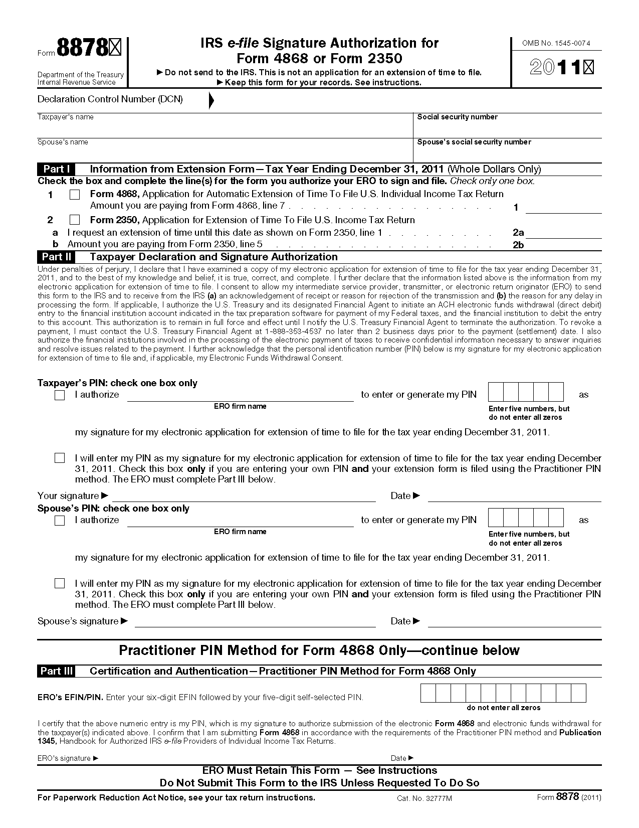 Form 8878 IRS e-file Signature Authorization for Form 4868 or Form ...