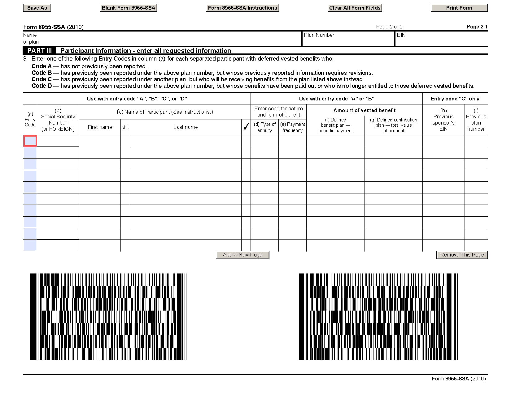 Form 8955-SSA Annual Registration Statement Identifying Separated ...