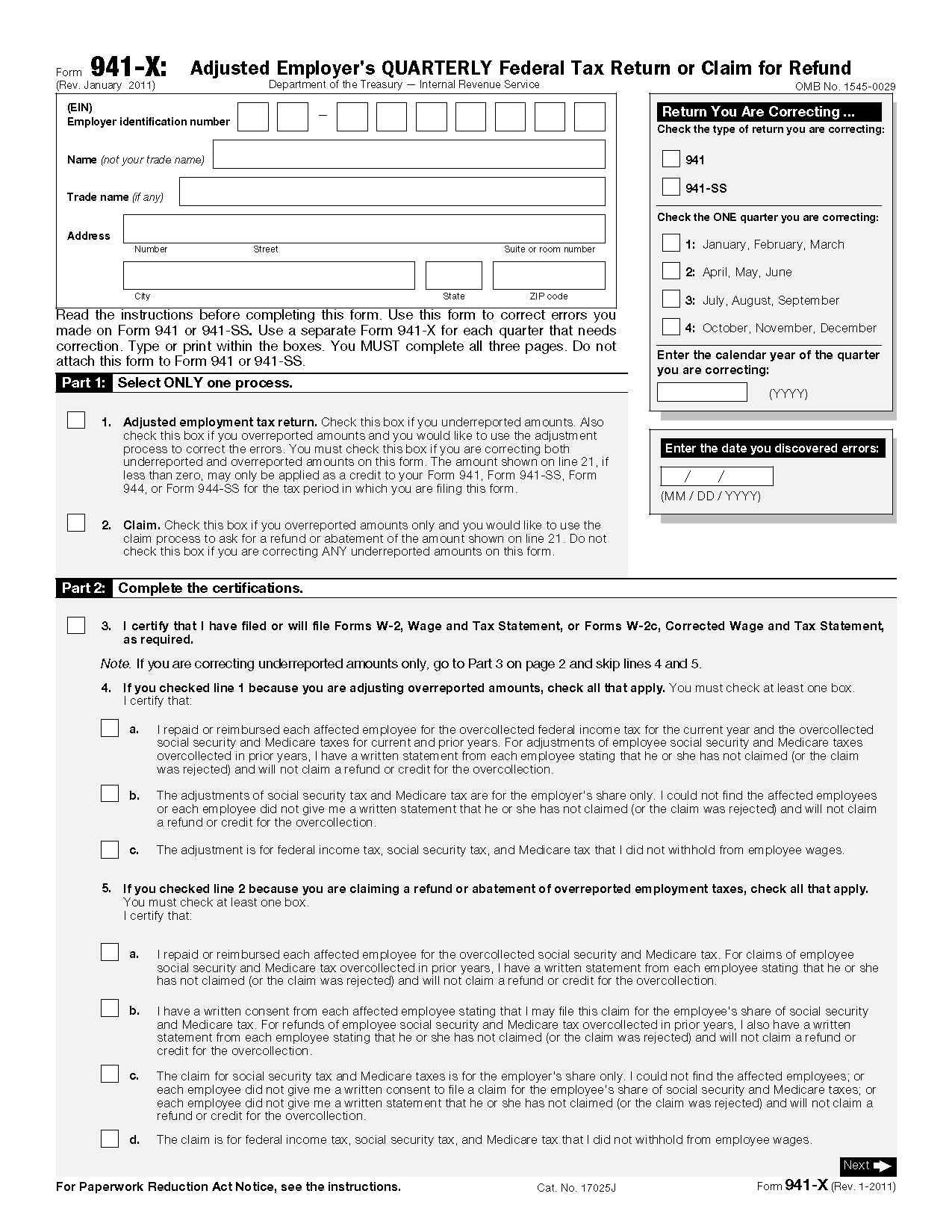 Irs form 941 instructions image collections standard form examples form 941 x adjusted employers quarterly federal tax return or main navigation falaconquin falaconquin