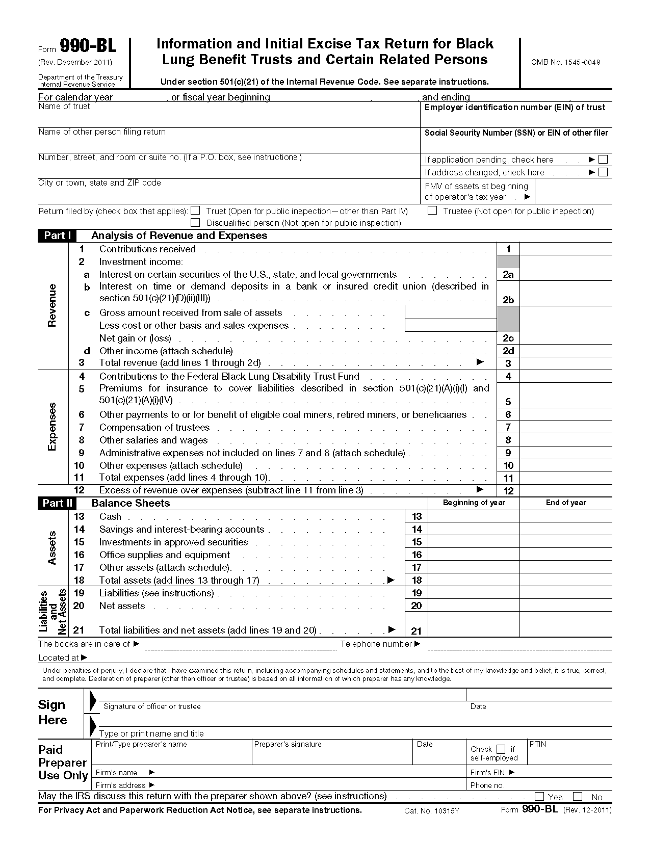 Form 990 Bl Information And Initial Excise Tax Return For Black Lung Benefit Trusts And Certain Related Persons