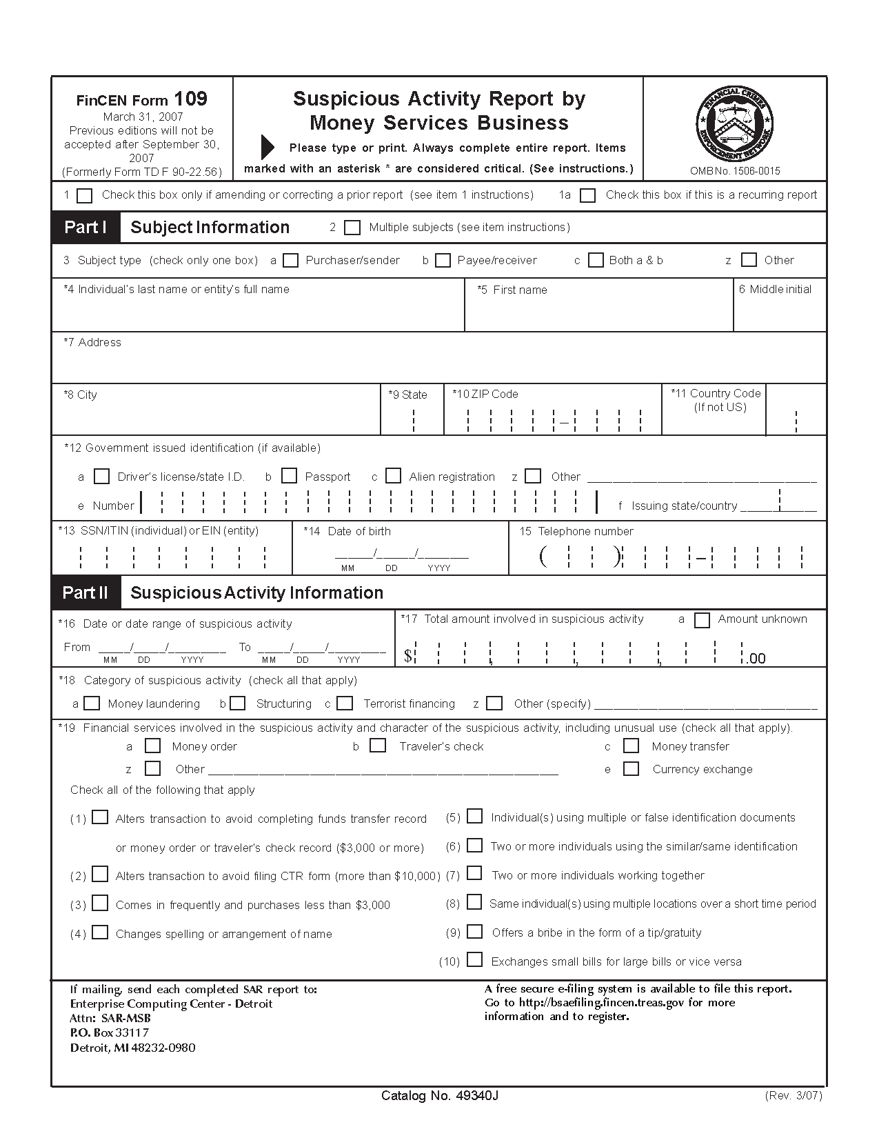 Form FinCEN109 Suspicious Activity Report by Money Services Business