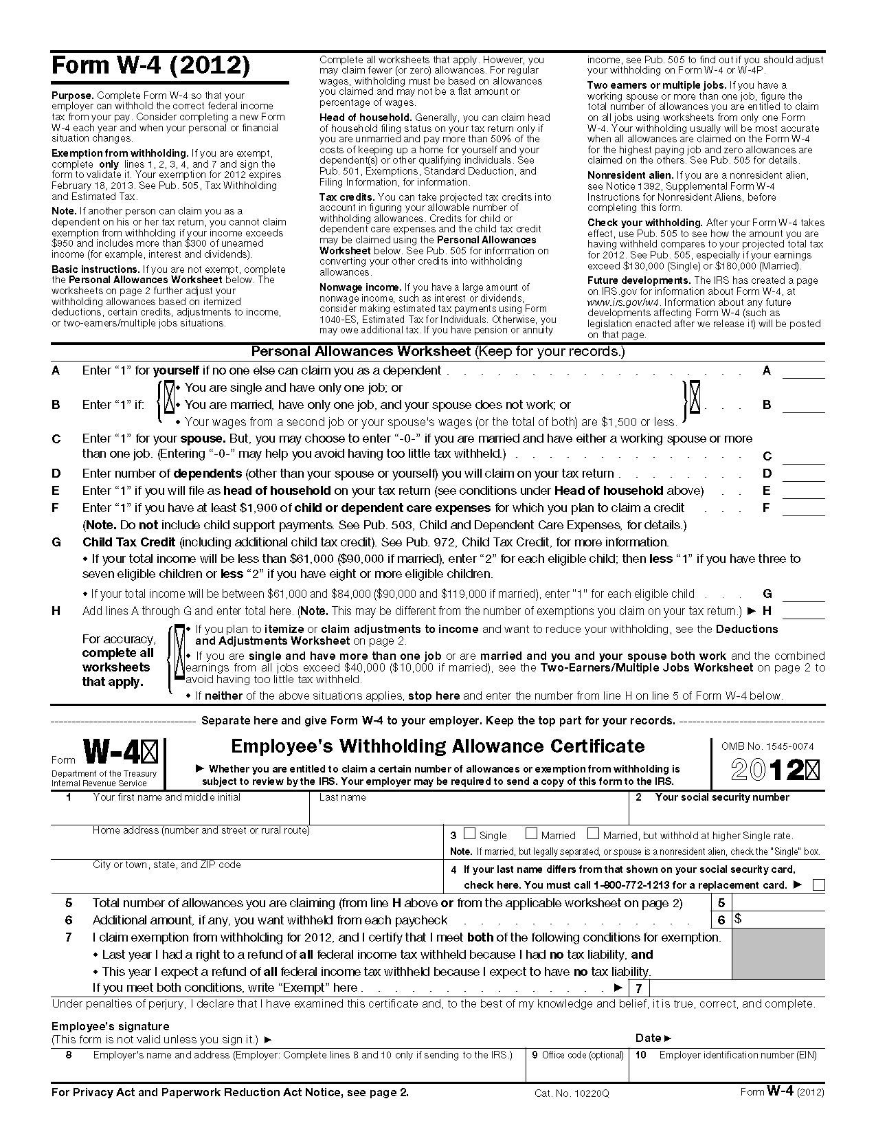 Form W4 Employees Withholding Allowance Certificate – Personal Allowances Worksheet
