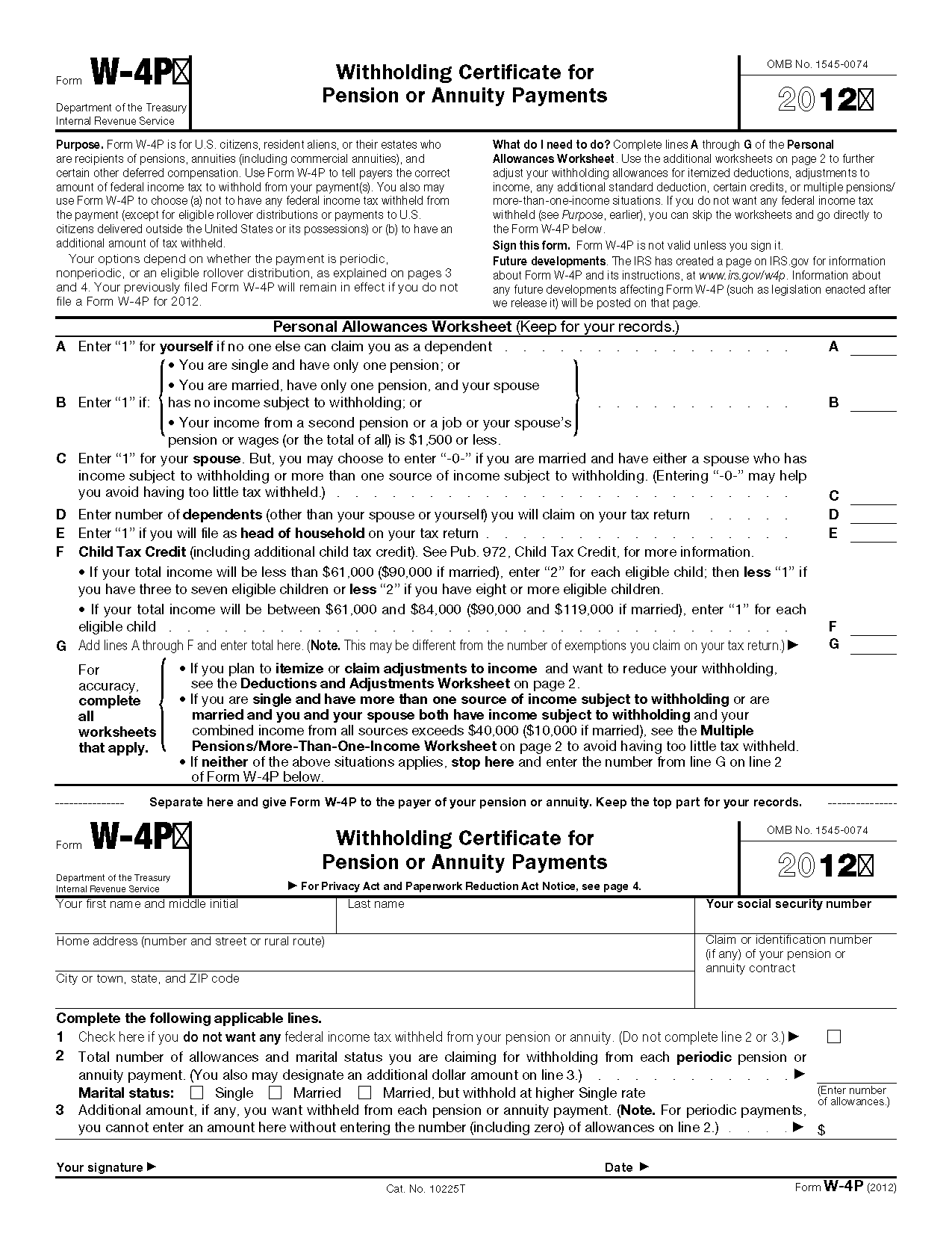 Free Worksheet Irs Personal Allowance Worksheet form w 4p withholding certificate for pension or annuity payments view all 2011 irs tax forms