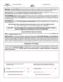 Form D-400X-WS Worksheet for Amending a 2011 Individual Income Tax ...