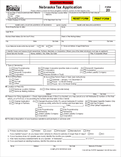 Form 20 Nebraska Tax Application, with Information Guide ...